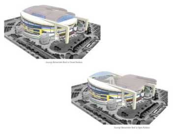 An artist's rendition shows Tropicana Field with an expanded concourse and retractable roof. (Courtesy of the Tampa Bay Times)